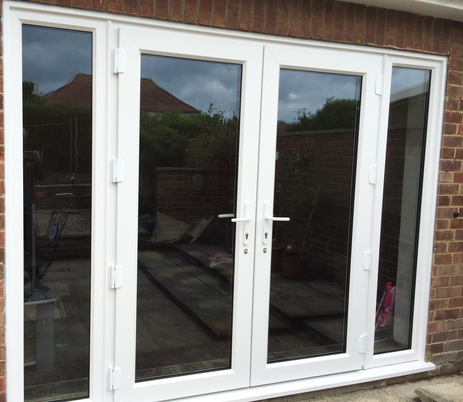 Upvc french doors kent home improvements 01843 299000 for Double door with side windows